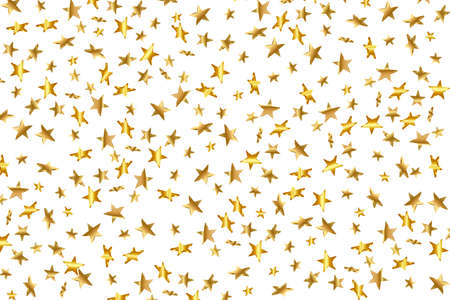 Illustration for 3d Star Falling. Gold Yellow Starry on transparent Background. Vector Confetti Star Background. Golden Starlit Card. Confetti Fall Chaotic Decor. - Royalty Free Image
