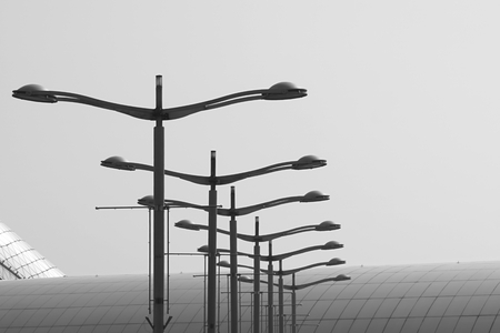 abstract of black and white street light