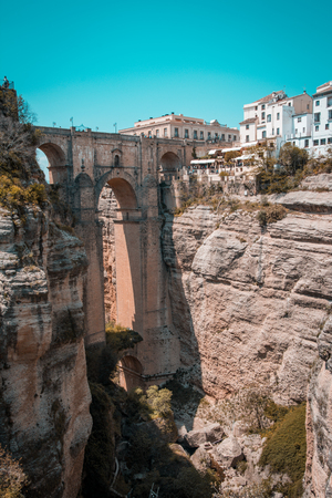 New bridge in Ronda, one of the famous white villages in Andalusia, Spain
