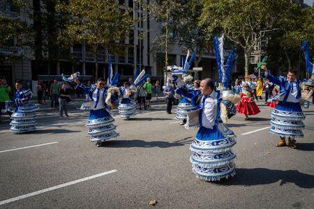 Barcelona, Spain. 12 Ocober 2019: Bolivian Moreno dancers during Dia de la Hispanidad in Barcelona.