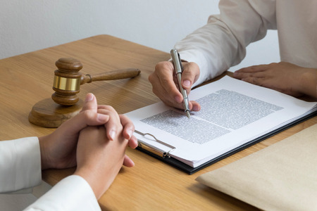 Photo pour Lawyer working on the table in office. consultant lawyer, attorney, court judge, concept. - image libre de droit