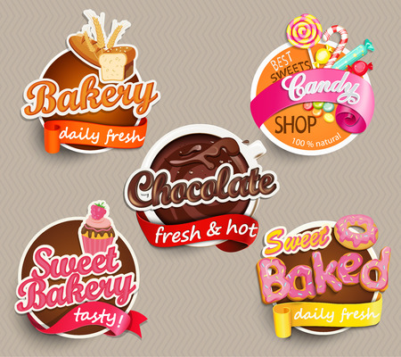 Illustration for Food Label or Sticker - bakery, chocolate, sweet baked, candy,sweet bakery - Design Template. Vector illustration. - Royalty Free Image
