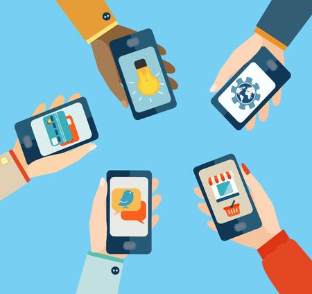 Illustration pour Set for mobile apps, Flat design vector illustration. - image libre de droit