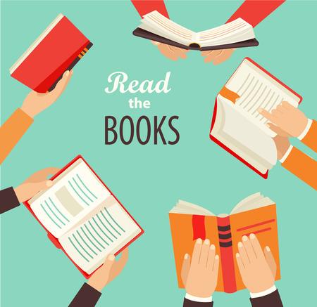 Illustration pour Vector set of hand holding books - icons in flat retro style. - image libre de droit