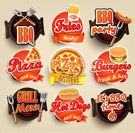 Ilustración de Fast food and BBQ Grill elements, Typographical Design Label or Sticer - burgers, pizza, hot dog, fries - Design Template. Vector illustration. - Imagen libre de derechos
