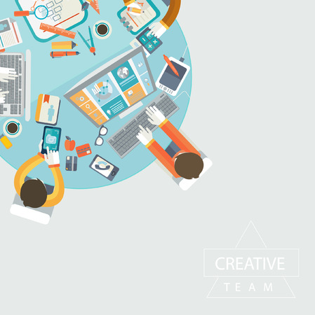 Illustration pour Business meeting, teamwork and brainstorming in flat style. - image libre de droit