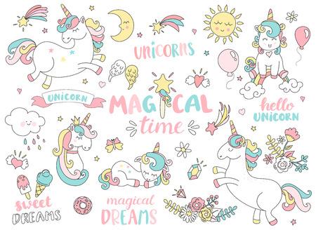 Illustration pour Set of unicorns and different magic elements with some lettering. Vector illustration. - image libre de droit