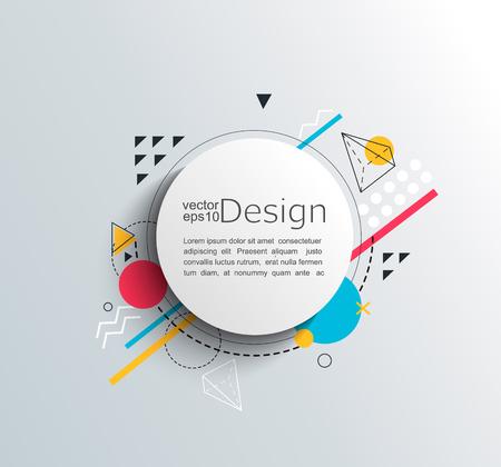 Ilustración de Circle frame with colorful geometric shapes. For your brochure, flyer, design. Vector illustration. - Imagen libre de derechos