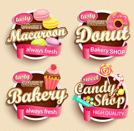 Illustration pour Set of Food Labels or Stickers - macaroon, donut, bakery, candy shop - Design Template. Vector illustration. - image libre de droit