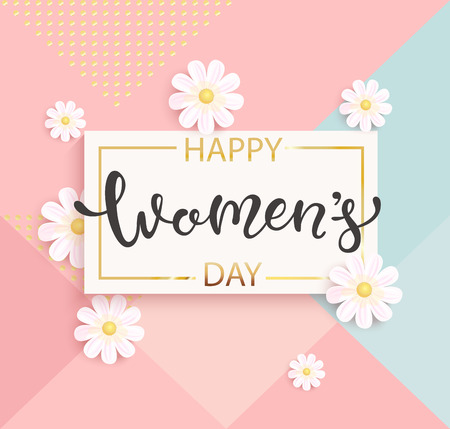 Ilustración de Card for women's day with hand drawn lettering in gold square frame on geometric background pastel colors with beautiful white daisies. Vector illustrate template, banner, flyer, invitation, poster. - Imagen libre de derechos