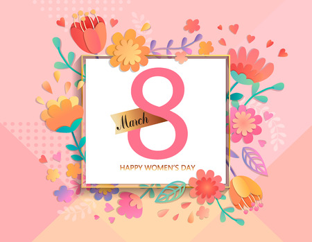 Ilustración de Card for happy women's day in square frame on geometric background pastel colors with beautiful flowers. Vector illustration template, banner, flyer, invitation, poster. - Imagen libre de derechos