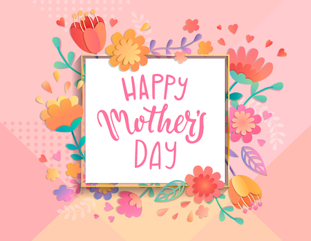 Illustration for Card for happy mothers day in square frame on geometric background pastel colors with beautiful flowers. Vector illustration template, banner, flyer, invitation, poster. - Royalty Free Image