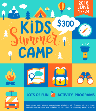 Ilustración de Poster for the Kids Summer camp, concept with handdrawn lettering,Camping and Travelling on holiday with a lot of camping equipment such as tent, backpack and others in flat style,vector illustration. - Imagen libre de derechos