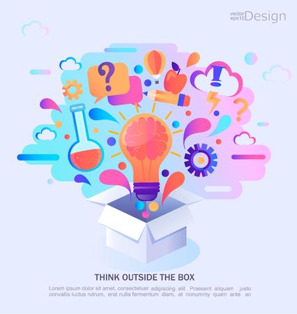Illustration pour Think outside the box, vector illustration. Infographic concept banner. Creative process and idea. Vector Illustration. - image libre de droit