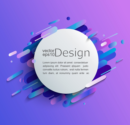 Ilustración de Circle frame with dynamic rounded shapes on modern and abstract gradient background. Vector illustration. - Imagen libre de derechos