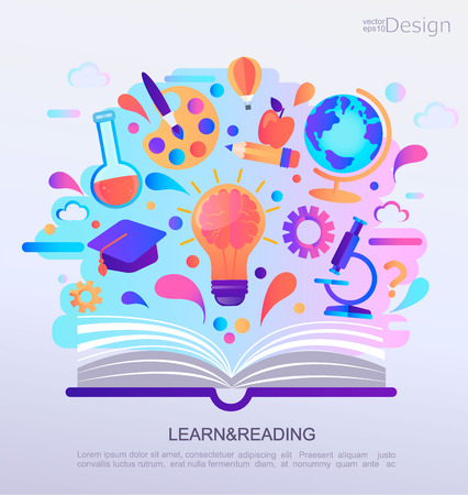 Ilustración de Education Infographic concept banner. Open book with signs and symbols of knowledge. Background for school. Vector Illustration. - Imagen libre de derechos