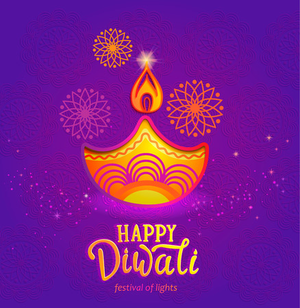Illustration pour Indian festival of lights - Happy Diwali, cute banner, greeting card with symbol of oil lamp and fire. Perfect for advertise, posters, flyers, backgrounds. Vector illustration. - image libre de droit