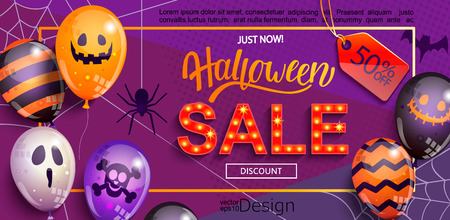 Ilustración de Sale Banner for Happy Halloween holiday with lettering,retro light sign and monster balloons.50 percent discount card for web, poster, flyers, ad, promotions, blogs, social media, marketing. Vector. - Imagen libre de derechos
