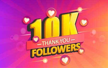 Illustration pour Thank you 10K followers banner. Thanks followers congratulation card. Vector illustration for Social Networks. Web user or blogger celebrates and tweets a large number of subscribers. - image libre de droit