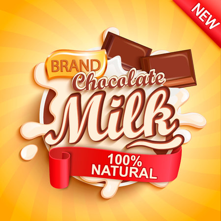 Ilustración de Chocolate milk label splash on gold sunburst background. Milky splashing with drops from falling pieces of delicious chocolate. Vector illustration for your design, packaging and advertising. - Imagen libre de derechos