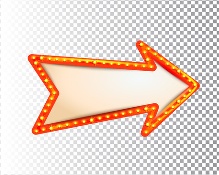 Illustration for Shining isolated retro bulb light frame arrow on transparent background. Vintage style banner, sign, signboard. Perfect template for shows, casino, cinema, circus. Vector illustration EPS 10 - Royalty Free Image