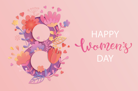 Illustration pour International Women's Day. Banner, flyer for March 8 decorating by paper flowers and hand drawn lettering. Congratulating and wishing happy holiday card for newsletter, brochures, postcards. Vector. - image libre de droit