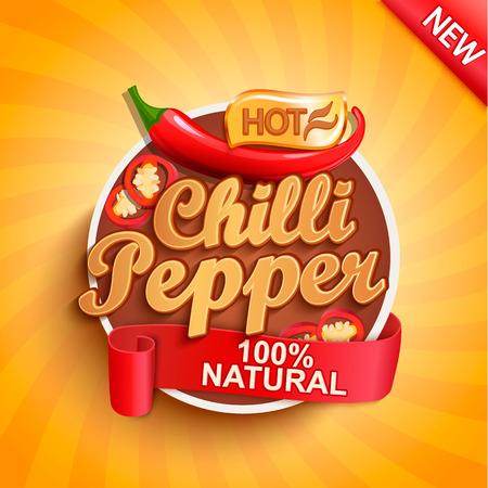 Ilustración de Hot chilli pepper logo, label or sticker on sunburst background. Natural, organic food.Concept of tasty vegetable for farmers market,shops,packing and packages, advertising design.Vector illustration. - Imagen libre de derechos