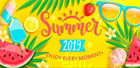 Ilustración de Summer banner with symbols for summertime such as ice cream,watermelon,strawberries,glasses. - Imagen libre de derechos