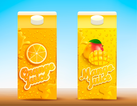 Illustration pour Set of two juice tetra packs with different tastes.Fresh and natural orange and mango juice for your brand,logo, template, label, emblem for packaging, packing, advertise. Vector illustration - image libre de droit