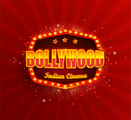 Illustration pour Bollywood Indian Cinema Film Banner,poster with retro light frame.Movie glowing Logo,symbol for your Design in retro vintage style.Template board with bulbs on red background.Bright signboard,lightbox - image libre de droit