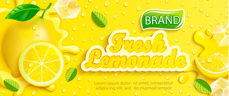 Illustration for Fresh lemonade with lemon, splash, apteitic drops from condensation, fruit slice, ice cubes on gradient yellow background for brand,logo, template,label,emblem and store,packaging,advertising.Vector - Royalty Free Image
