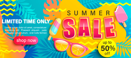 Ilustración de Summer Sale bright poster, hot season discount banner with tropical leaves,ice cream, sunglasses.Invitation for online shopping with 50 percent price off, special offer card,template for design.Vector - Imagen libre de derechos