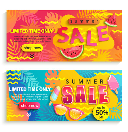 Ilustración de Set of summer sale banners, flyers. Promote up to 50 per cent price off and limited time discounts. Invitation for new mid and end of season offers. Template for your design in shops, stores, retails. - Imagen libre de derechos