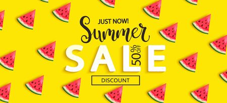 Ilustración de Summer Sale watermelon banner on yellow background, hot end or mid season 50 percent discount poster.Invitation for shopping, special offer card, template design for promotions. Vector illustration. - Imagen libre de derechos