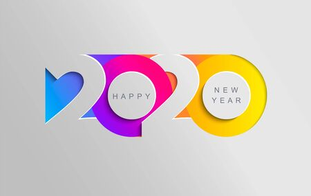 Ilustración de Happy 2020 new year insta colour banner in paper style for your seasonal holidays flyers, greetings and invitations, christmas themed congratulations and cards. Vector illustration. - Imagen libre de derechos