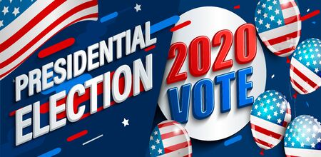 2020 USA presidential election banner. Poster for American vote. Template for politic design. Great for flyers, cards, plackards. Dynamic backgrounds with flag and ballons.Vector illustration.
