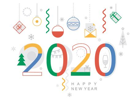 Illustration pour 2020 new year minimal banner. Modern design card, poster with geometric shapes, christmas balls and gifts, wishing happy holiday.Great for web, party invitations, flyers, greetings, congratulations. - image libre de droit