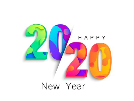 Ilustración de 2020 New Year colour banner Vector illustration. - Imagen libre de derechos