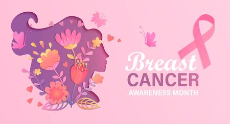 Illustration pour Breast cancer awareness month. World preventive health care initiative.Banner with paper cut woman face and flowers in her head,butterfly,pink ribbon, place for text.Poster, flyer.Vector illustration. - image libre de droit