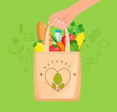 Illustration pour Eco Fabric Cloth Bag full of natural food, vegetables, fruits, bread, water. The concept of caring for the environment,reuse things, healthy shopping. Vector illustration. - image libre de droit