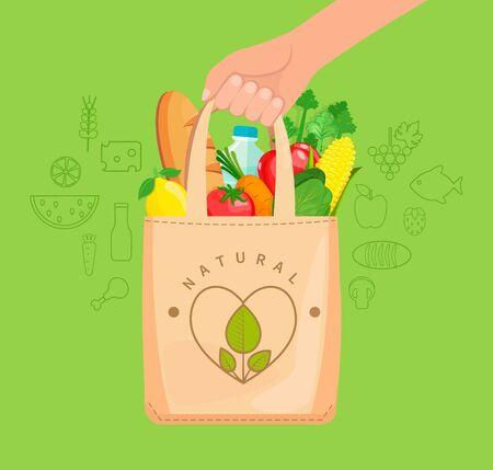 Ilustración de Eco Fabric Cloth Bag full of natural food, vegetables, fruits, bread, water. The concept of caring for the environment,reuse things, healthy shopping. Vector illustration. - Imagen libre de derechos