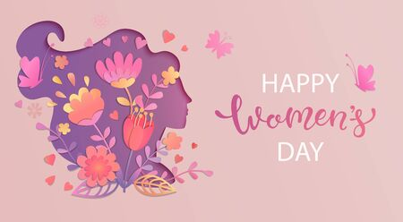 Illustration pour Elegant card for International Women's Day.Banner, flyer for March 8 with papercut woman face silhouette with flowers and wishing happy holiday.Congratulating placard for brochures.Vector illustration - image libre de droit