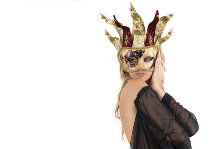 sexy woman with carnival venice mask on her face