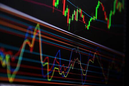 Foto de Line graph Trading signals Currency for trading Investments.Trading, investing in the currency market and the stock market. - Imagen libre de derechos
