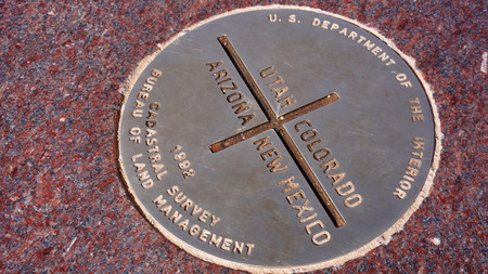 Metal plate of Four Corners in USA