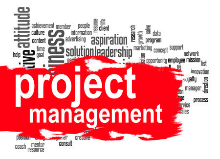 Photo pour Project management word cloud image with hi-res rendered artwork that could be used for any graphic design. - image libre de droit