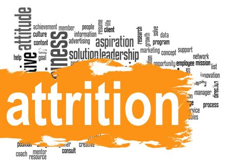 Attrition word cloud with orange banner image with hi-res rendered artwork