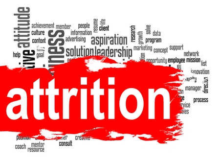 Attrition word cloud with red banner image with hi-res rendered artwork that could be used for any graphic design.