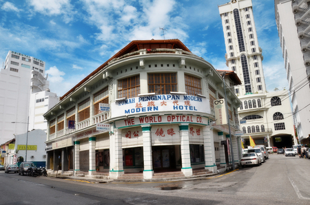 PENANG, MALAYSIA- 26 NOV,2015: Buildings in George Town UNESCO World Heritage Site, officially recognised as having a unique architectural and cultural townscape without parallel anywhere in Southeast Asia.