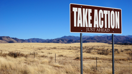 Take Action Just Ahead brown road sign with blue sky and wilderness